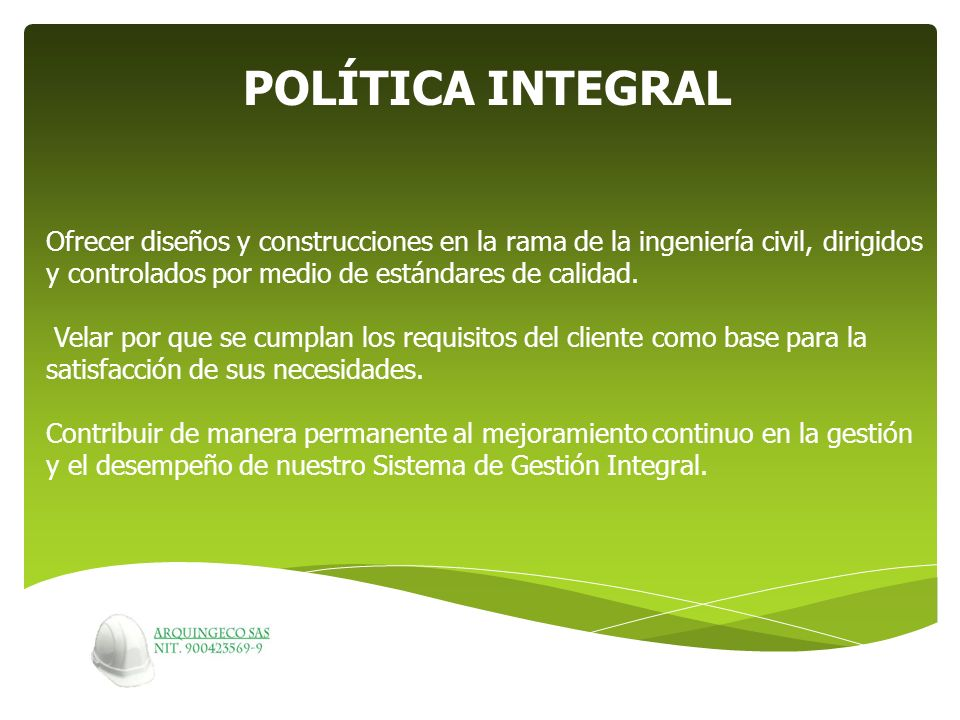 POLÍTICA INTEGRAL.