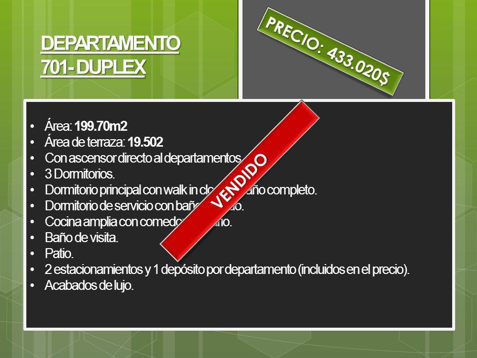 DEPARTAMENTO 701- DUPLEX PRECIO: 433.020$ VENDIDO Área: 199.70m2