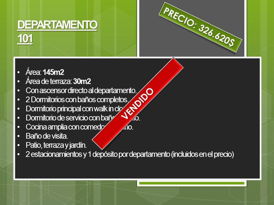 DEPARTAMENTO 101 PRECIO: 326.620$ VENDIDO Área: 145m2