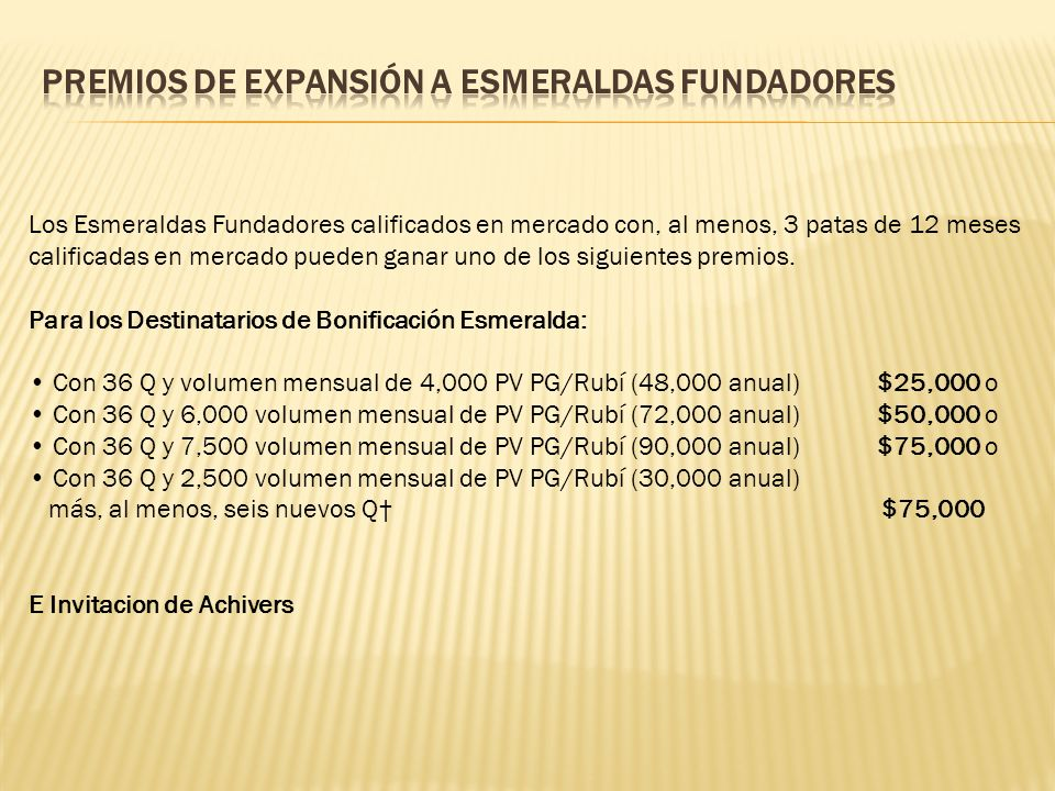 PREMIOS DE EXPANSIÓN A ESMERALDAS FUNDADORES