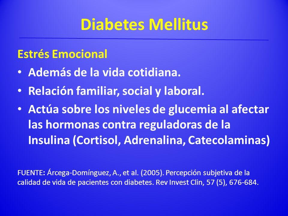Diabetes Mellitus Estrés Emocional Además de la vida cotidiana.