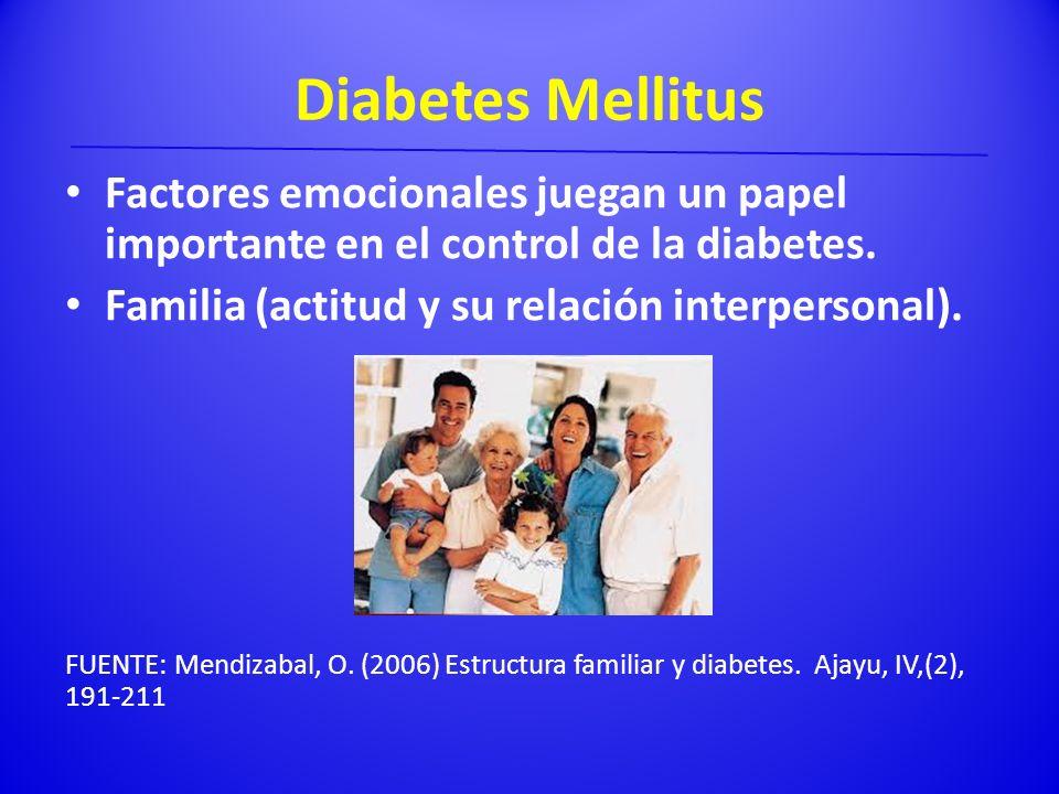 Diabetes Mellitus Factores emocionales juegan un papel importante en el control de la diabetes. Familia (actitud y su relación interpersonal).