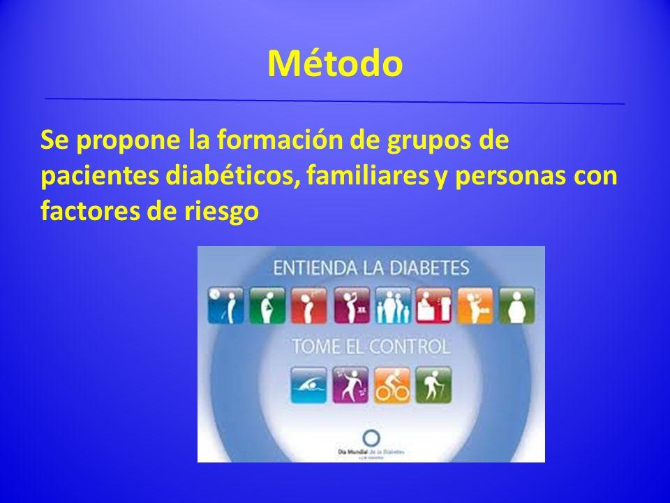 Método Se propone la formación de grupos de pacientes diabéticos, familiares y personas con factores de riesgo.