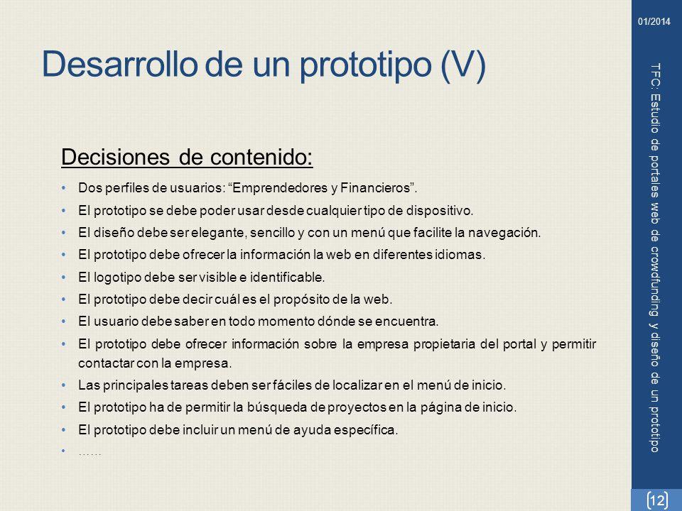 Desarrollo de un prototipo (V)