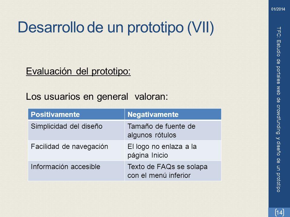 Desarrollo de un prototipo (VII)