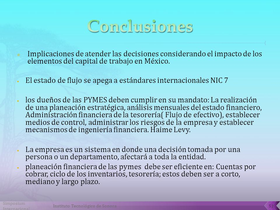 Conclusiones Implicaciones de atender las decisiones considerando el impacto de los elementos del capital de trabajo en México.