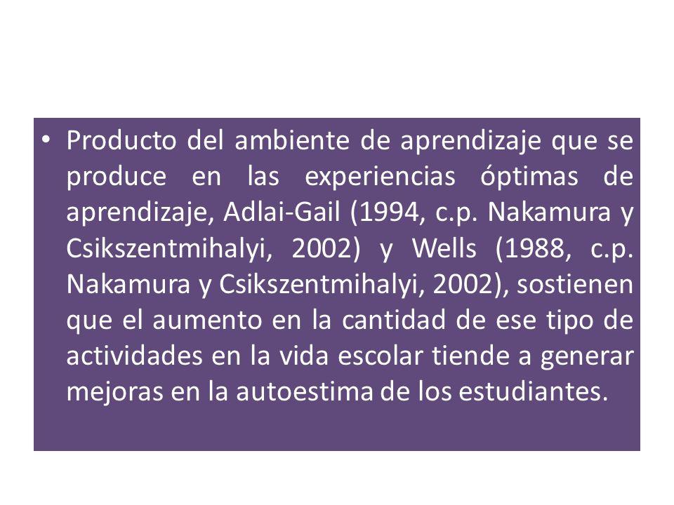 Producto del ambiente de aprendizaje que se produce en las experiencias óptimas de aprendizaje, Adlai-Gail (1994, c.p.