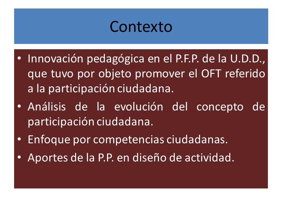 Contexto Innovación pedagógica en el P.F.P. de la U.D.D., que tuvo por objeto promover el OFT referido a la participación ciudadana.