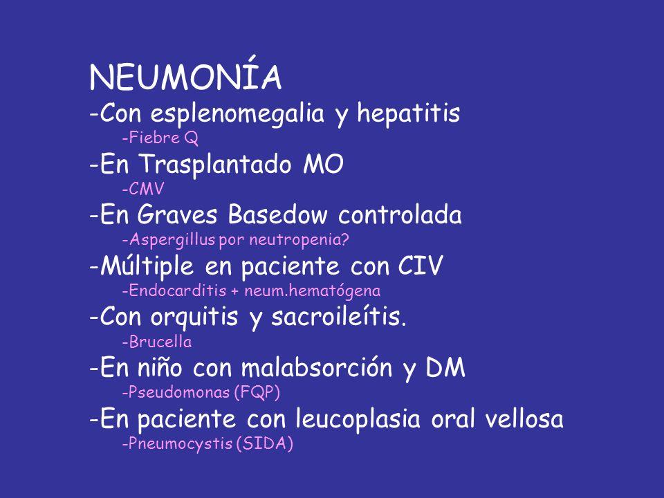 NEUMONÍA Con esplenomegalia y hepatitis En Trasplantado MO