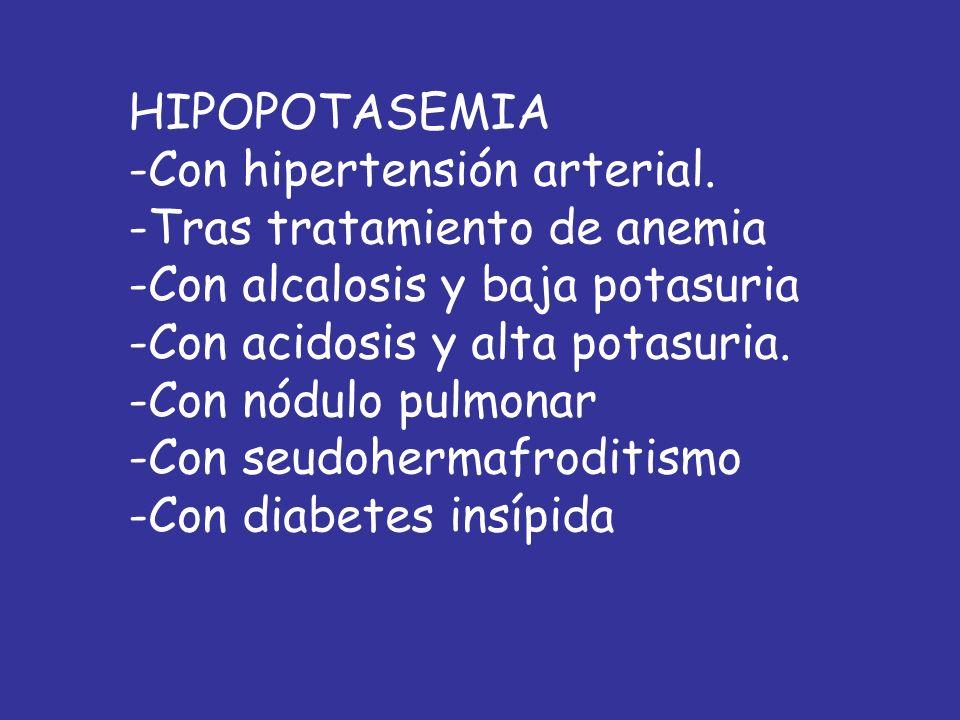 HIPOPOTASEMIA Con hipertensión arterial. Tras tratamiento de anemia. Con alcalosis y baja potasuria.