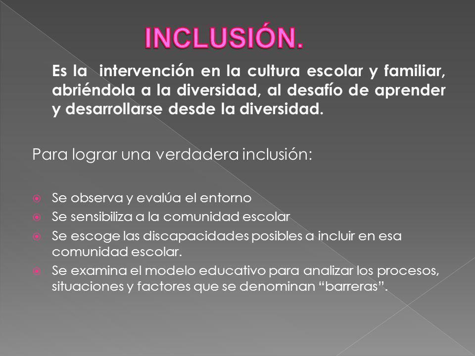INCLUSIÓN. Para lograr una verdadera inclusión: