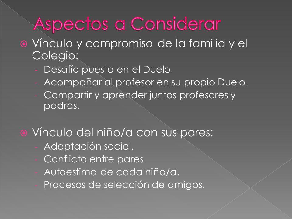 Aspectos a Considerar Vínculo y compromiso de la familia y el Colegio: