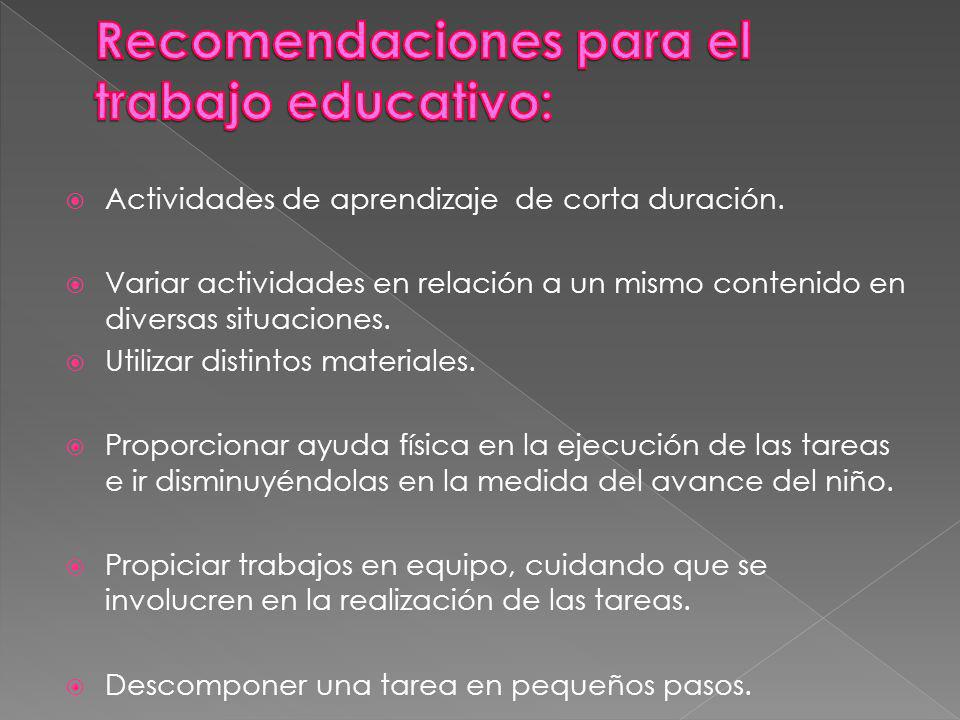 Recomendaciones para el trabajo educativo: