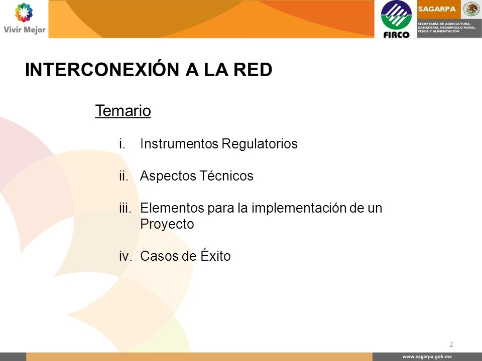 INTERCONEXIÓN A LA RED Temario Instrumentos Regulatorios