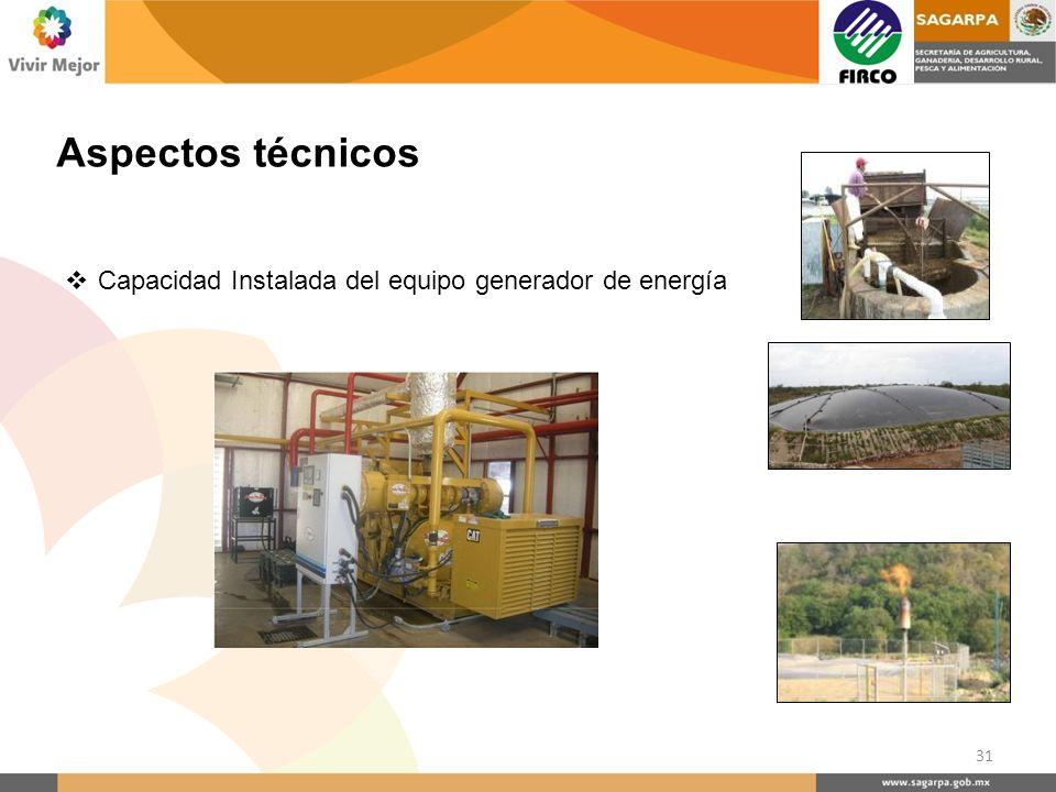 Aspectos técnicos Capacidad Instalada del equipo generador de energía