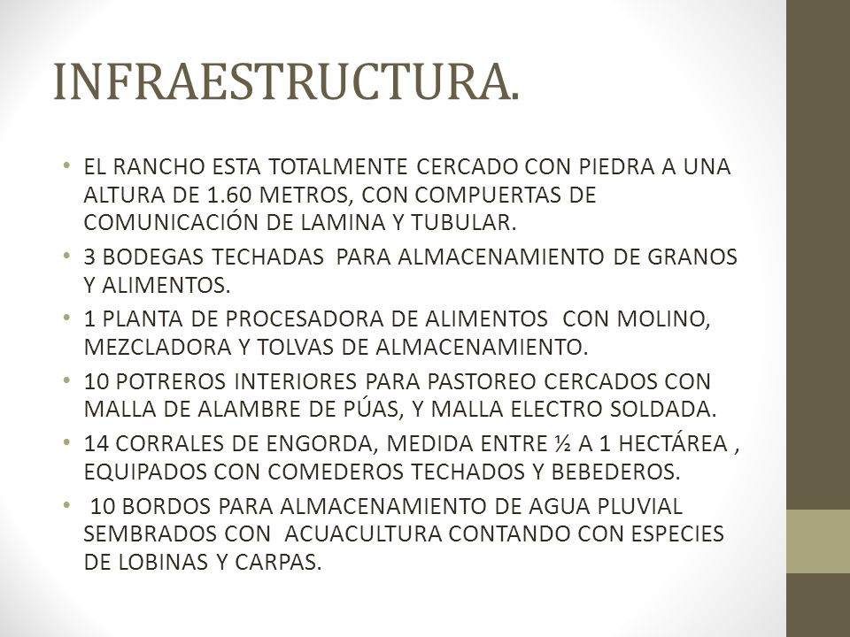 INFRAESTRUCTURA. EL RANCHO ESTA TOTALMENTE CERCADO CON PIEDRA A UNA ALTURA DE 1.60 METROS, CON COMPUERTAS DE COMUNICACIÓN DE LAMINA Y TUBULAR.