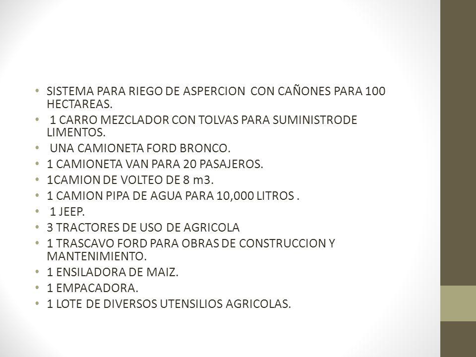 SISTEMA PARA RIEGO DE ASPERCION CON CAÑONES PARA 100 HECTAREAS.