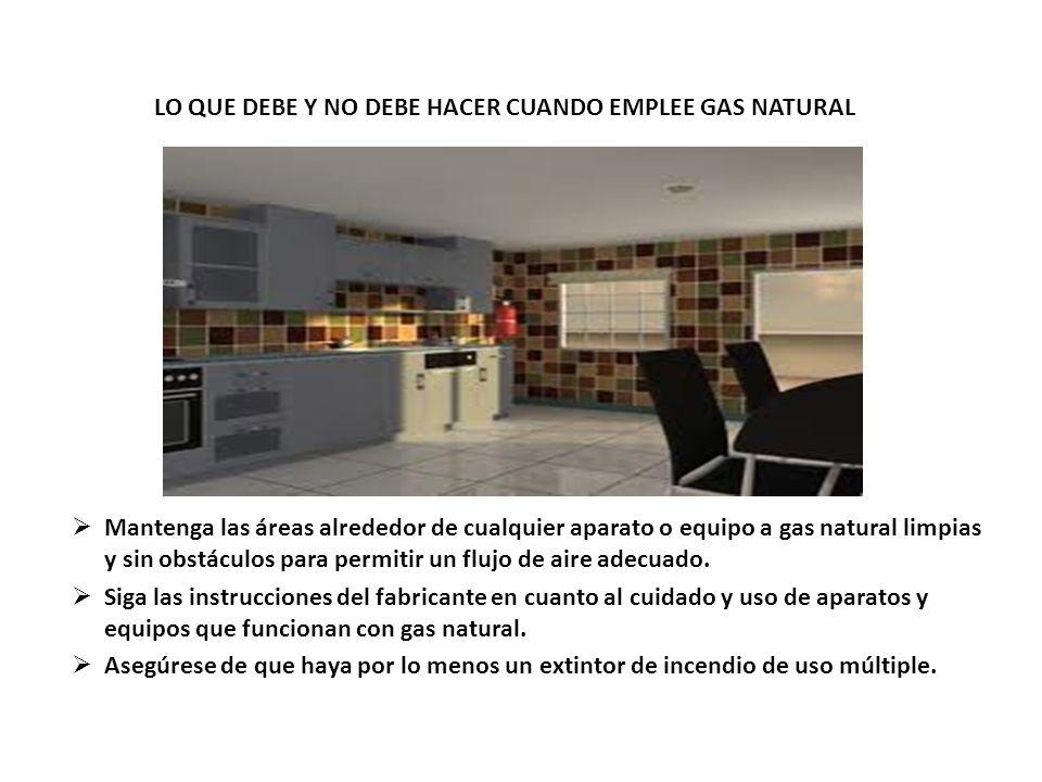 LO QUE DEBE Y NO DEBE HACER CUANDO EMPLEE GAS NATURAL