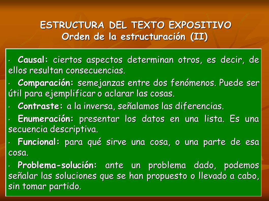 ESTRUCTURA DEL TEXTO EXPOSITIVO Orden de la estructuración (II)