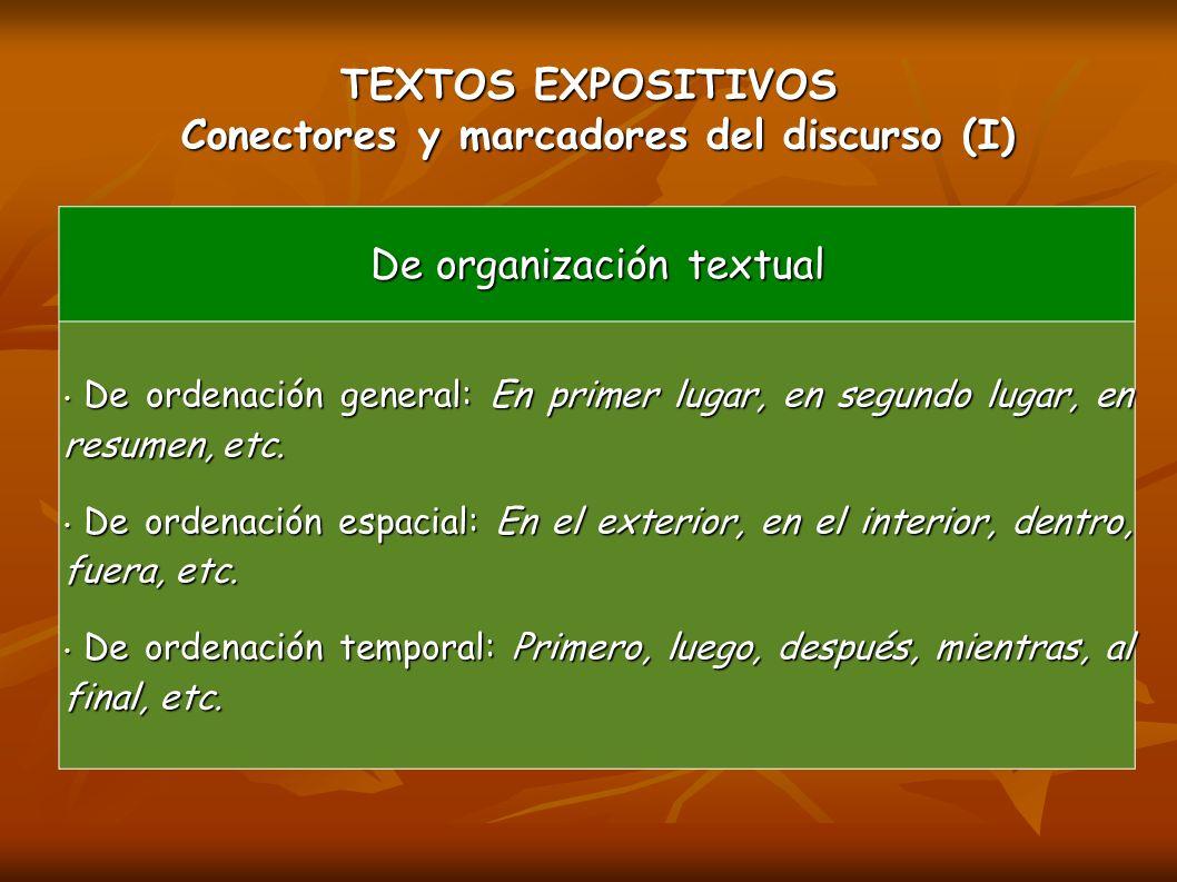 TEXTOS EXPOSITIVOS Conectores y marcadores del discurso (I)