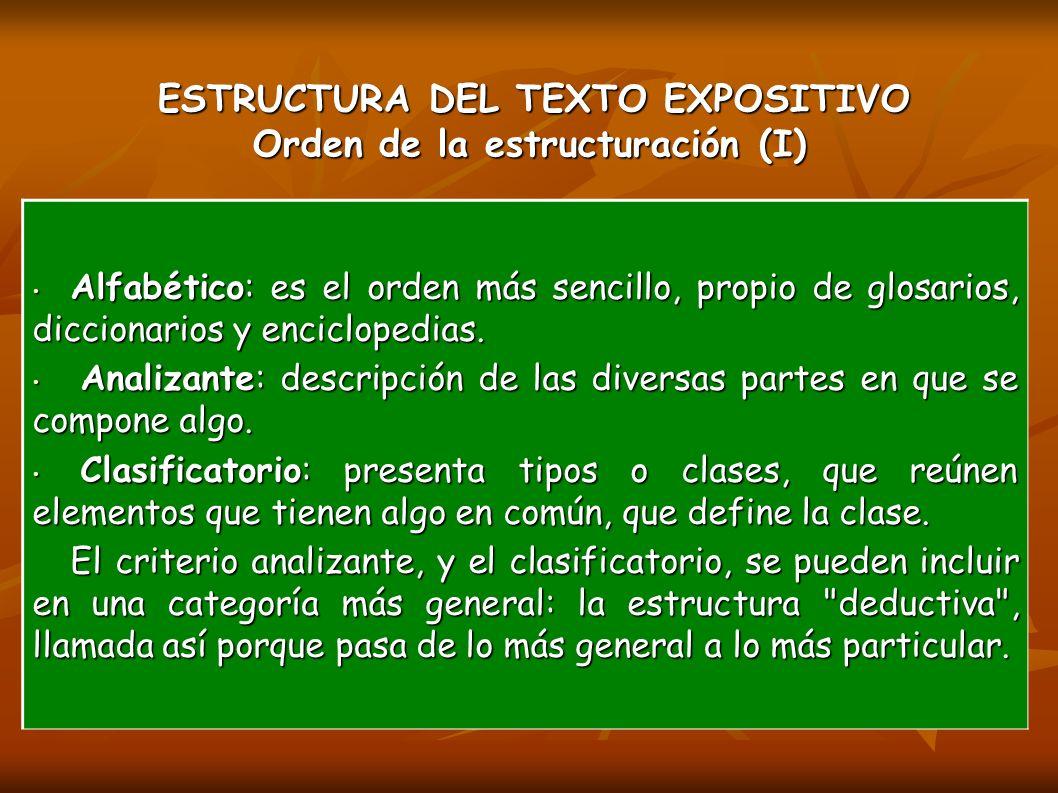 ESTRUCTURA DEL TEXTO EXPOSITIVO Orden de la estructuración (I)
