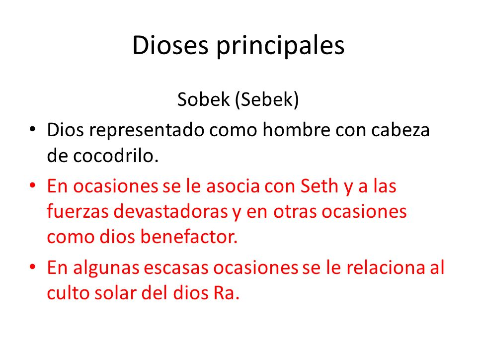 Dioses principales Sobek (Sebek)