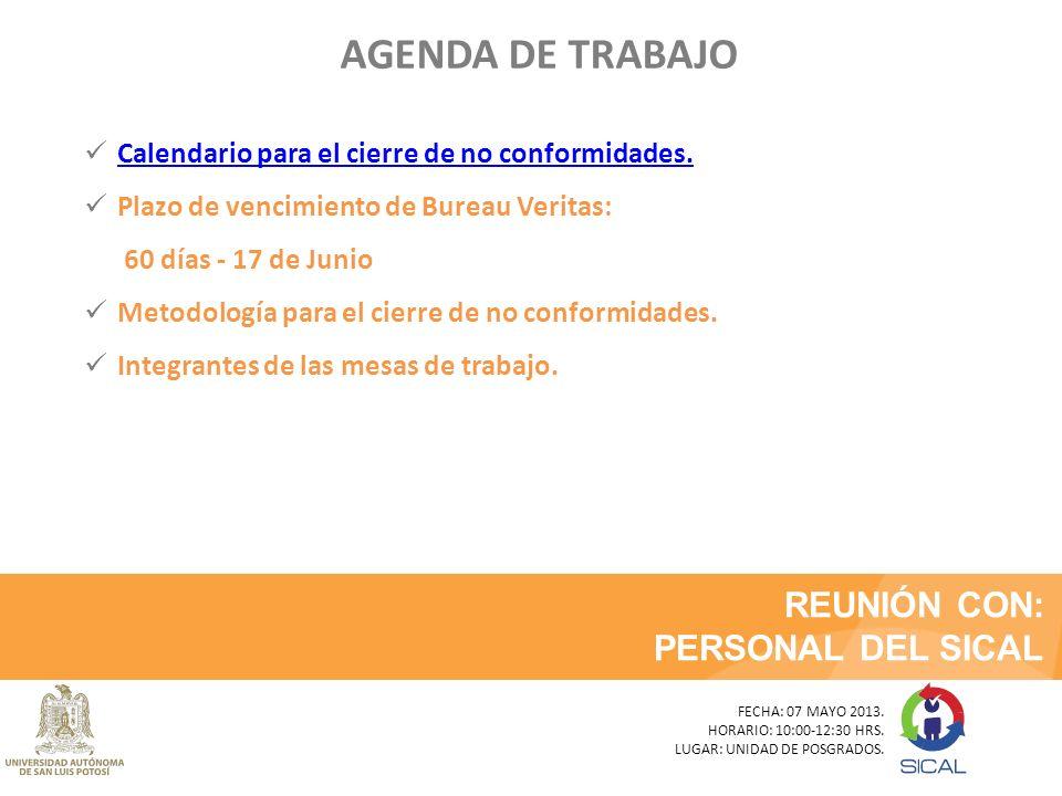 AGENDA DE TRABAJO REUNIÓN CON: PERSONAL DEL SICAL