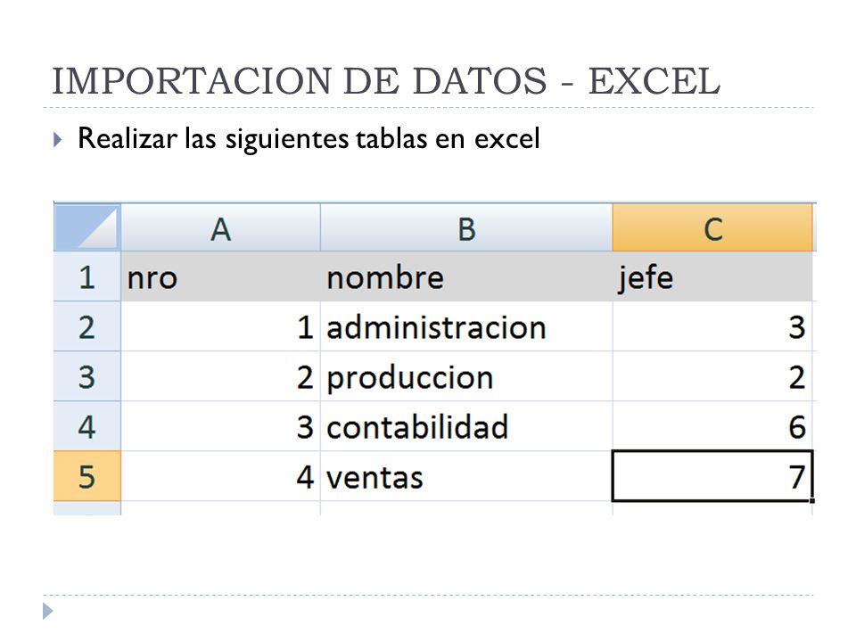 IMPORTACION DE DATOS - EXCEL