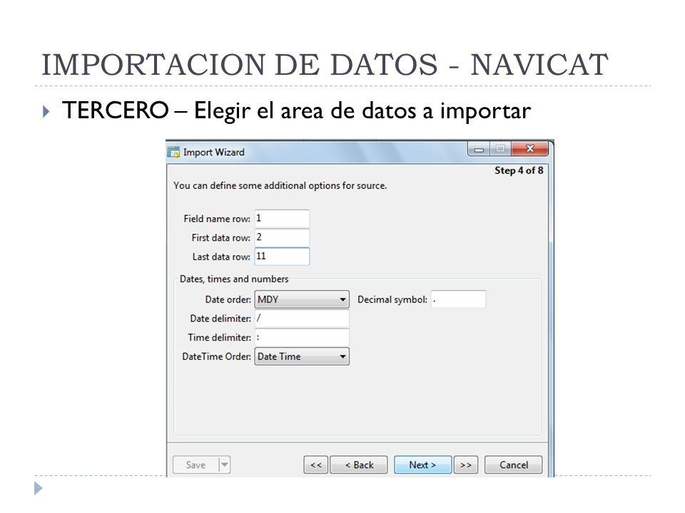IMPORTACION DE DATOS - NAVICAT