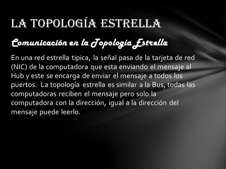 La topología estrella Comunicación en la Topología Estrella