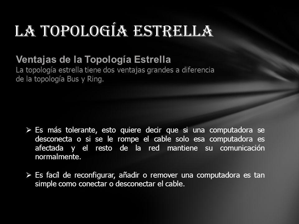 La topología estrella Ventajas de la Topología Estrella