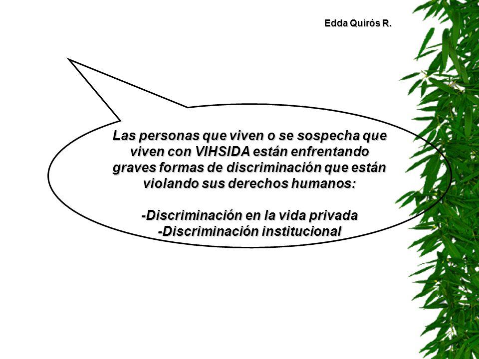 -Discriminación en la vida privada -Discriminación institucional