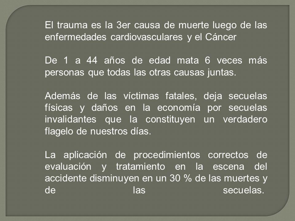 El trauma es la 3er causa de muerte luego de las enfermedades cardiovasculares y el Cáncer