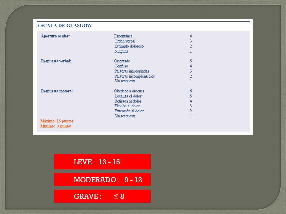 LEVE : 13 - 15 MODERADO : 9 - 12 GRAVE : ≤ 8