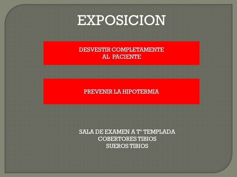 EXPOSICION DESVESTIR COMPLETAMENTE AL PACIENTE PREVENIR LA HIPOTERMIA