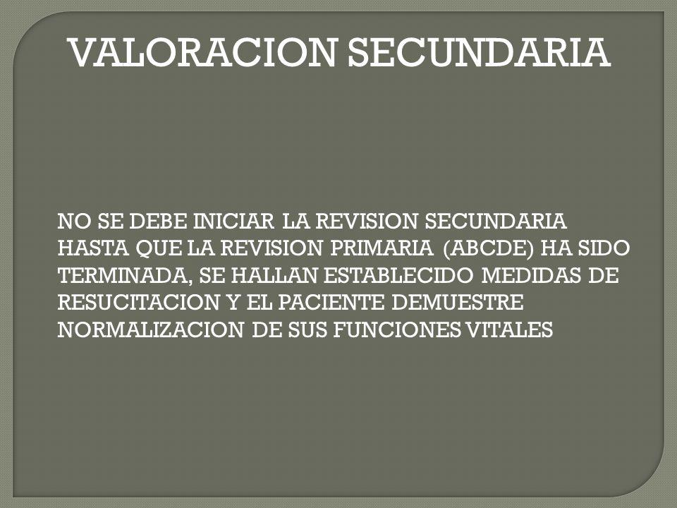VALORACION SECUNDARIA