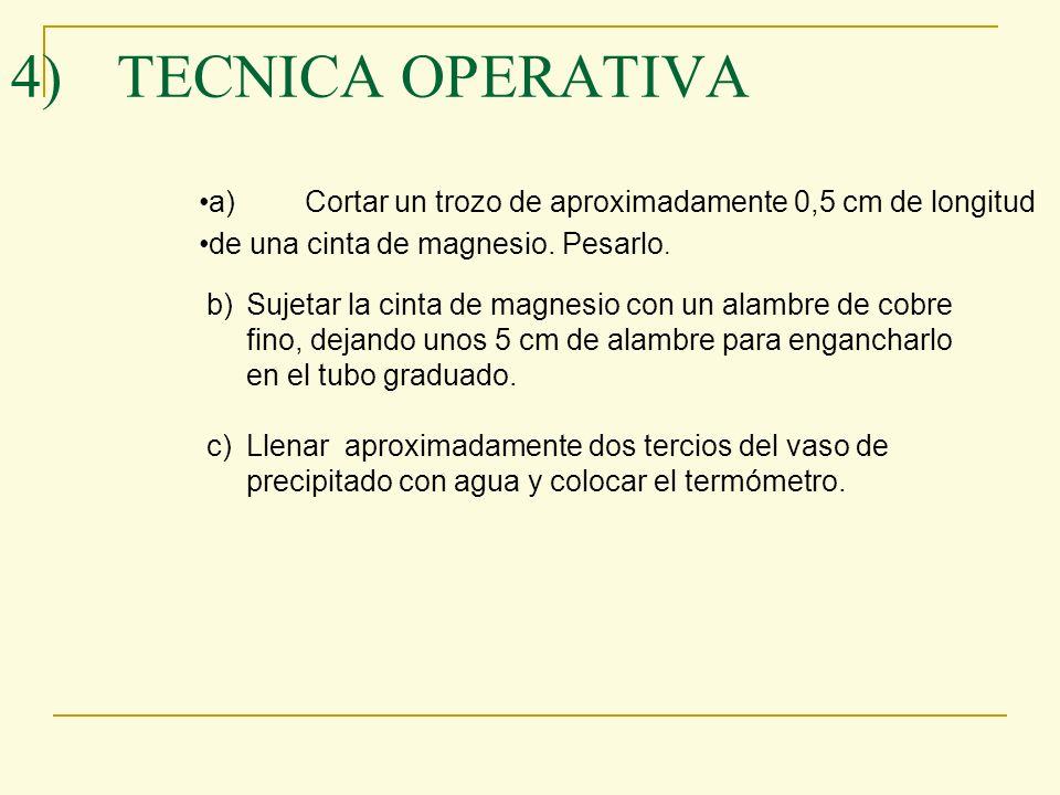 4) TECNICA OPERATIVA a) Cortar un trozo de aproximadamente 0,5 cm de longitud. de una cinta de magnesio. Pesarlo.