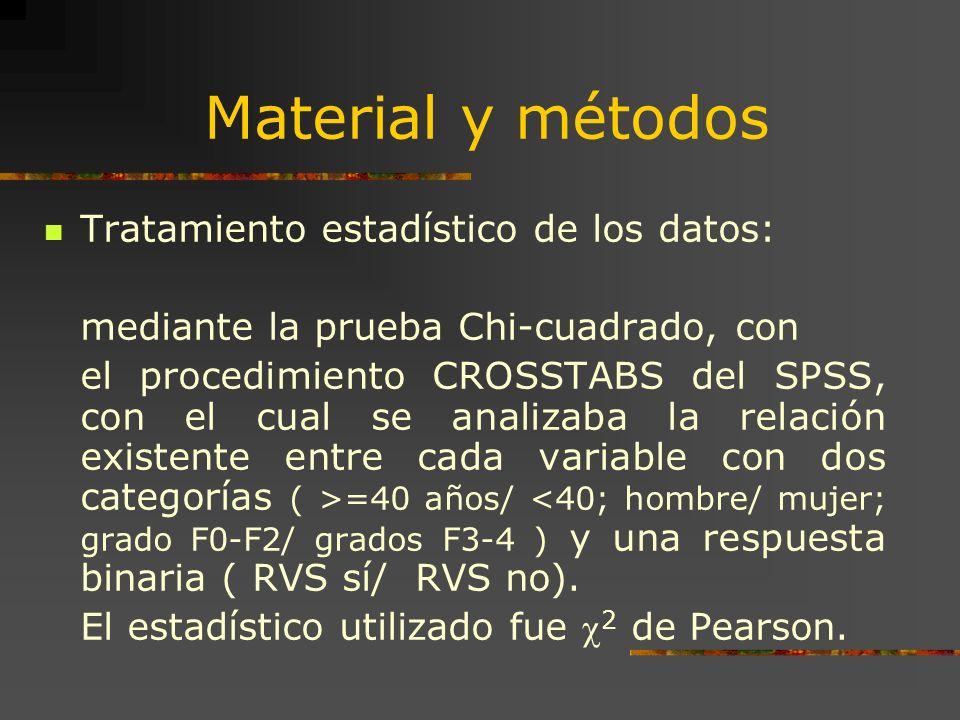 Material y métodos Tratamiento estadístico de los datos: