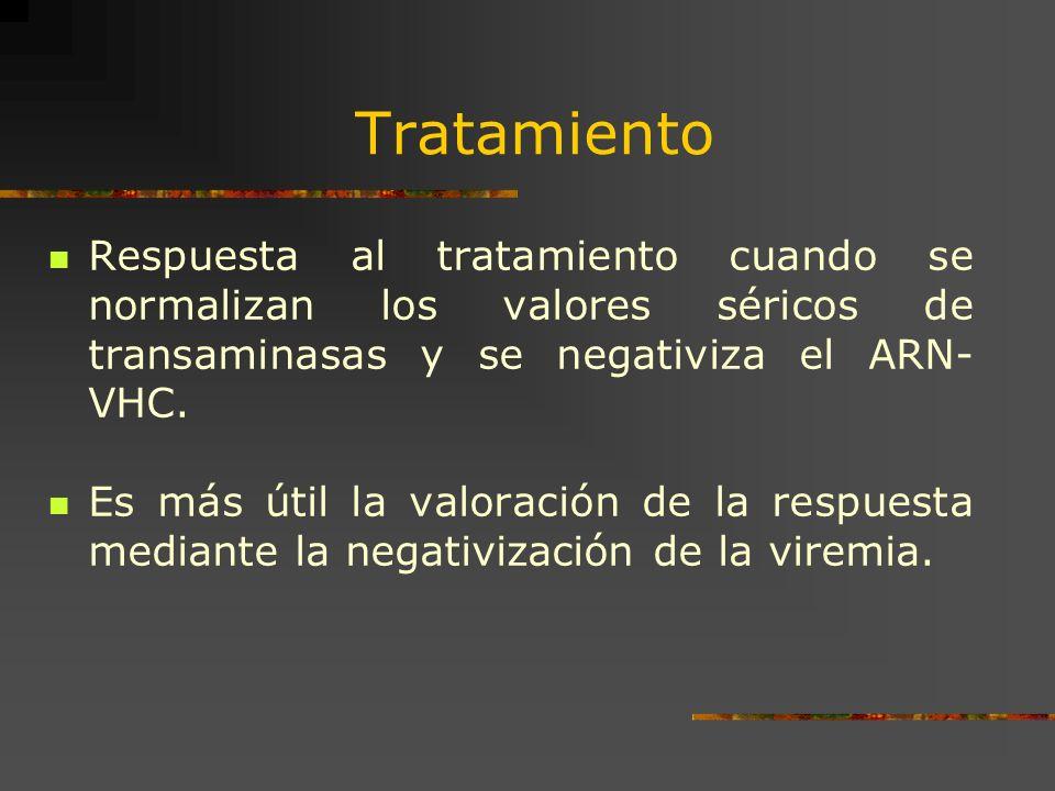 Tratamiento Respuesta al tratamiento cuando se normalizan los valores séricos de transaminasas y se negativiza el ARN-VHC.
