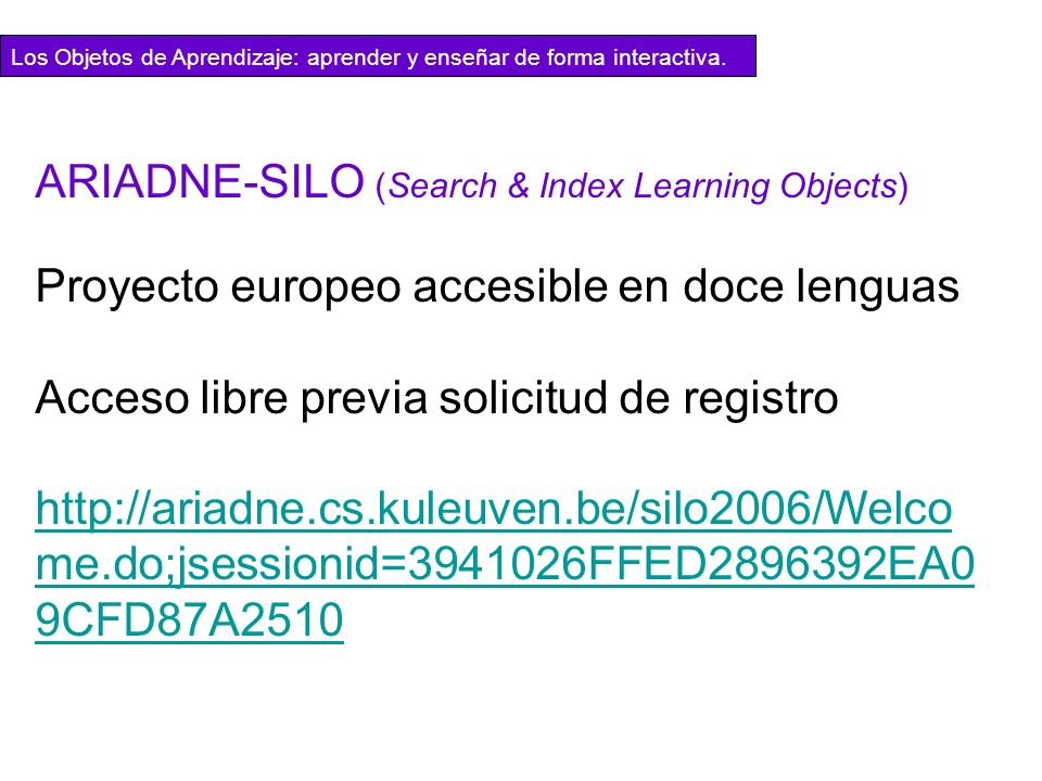 ARIADNE-SILO (Search & Index Learning Objects)