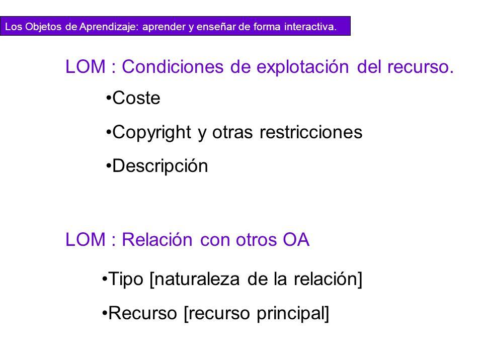 LOM : Condiciones de explotación del recurso. Coste