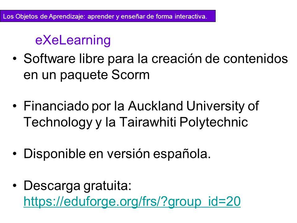 Software libre para la creación de contenidos en un paquete Scorm