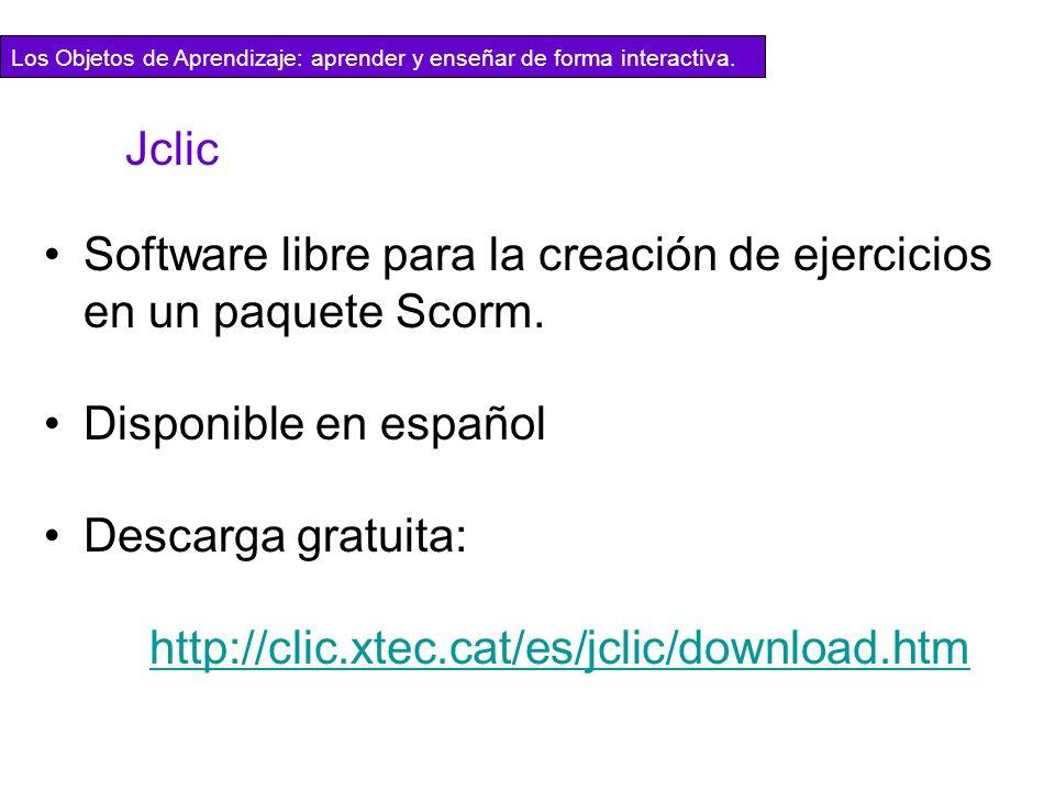 Software libre para la creación de ejercicios en un paquete Scorm.