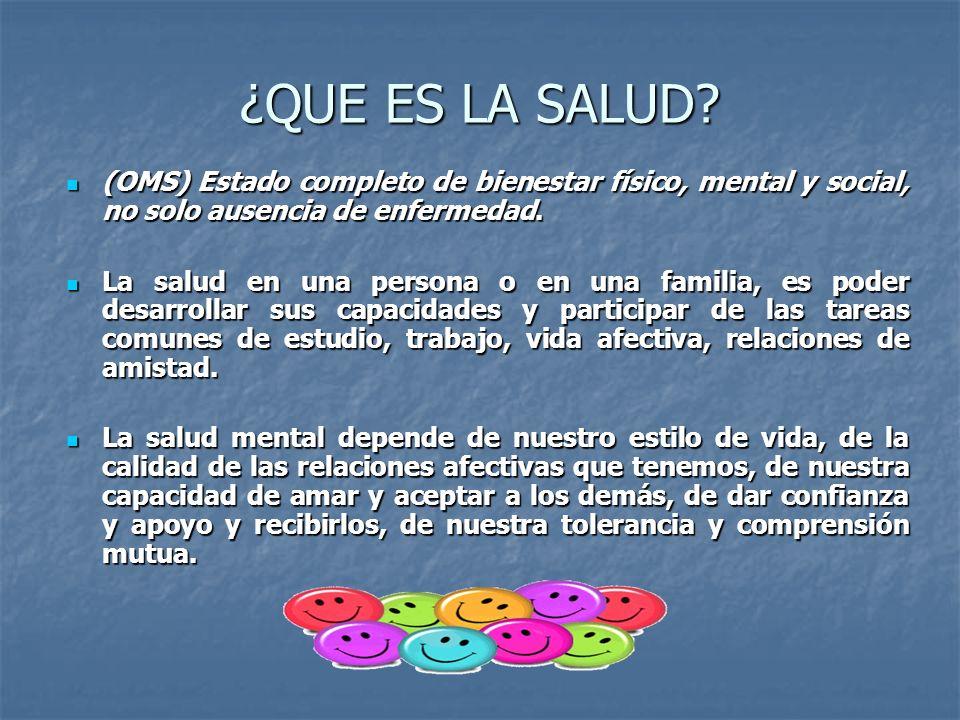 ¿QUE ES LA SALUD (OMS) Estado completo de bienestar físico, mental y social, no solo ausencia de enfermedad.