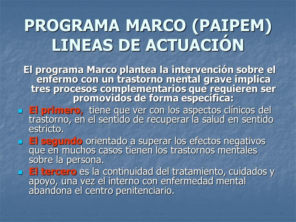 PROGRAMA MARCO (PAIPEM) LINEAS DE ACTUACIÓN