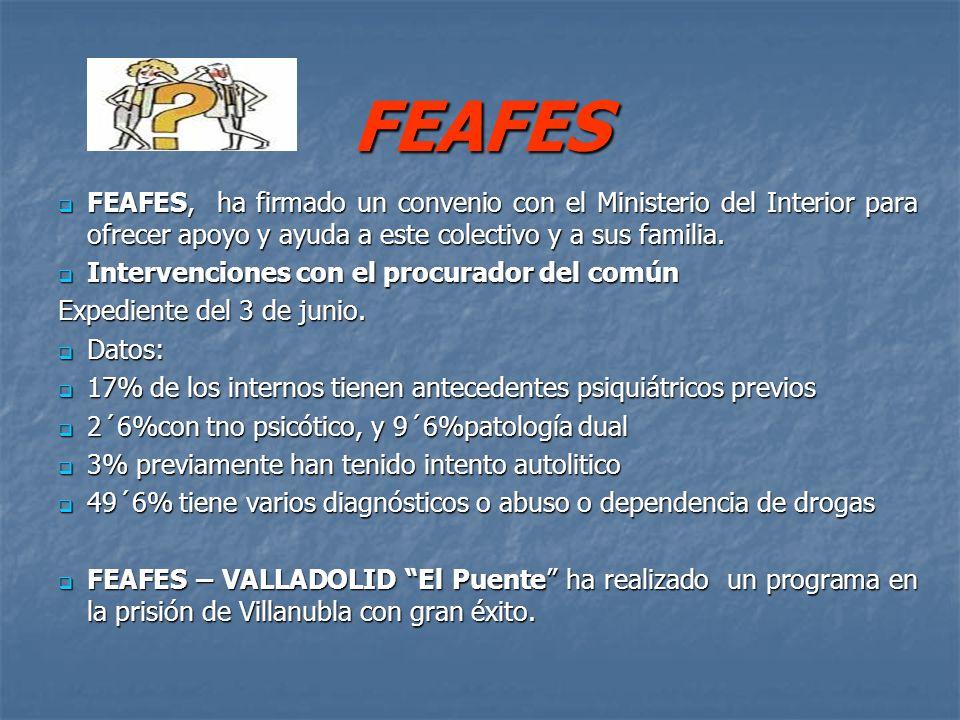 FEAFES FEAFES, ha firmado un convenio con el Ministerio del Interior para ofrecer apoyo y ayuda a este colectivo y a sus familia.