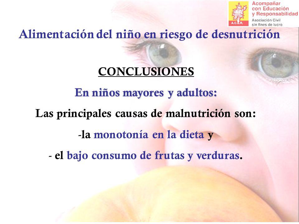 Alimentación del niño en riesgo de desnutrición