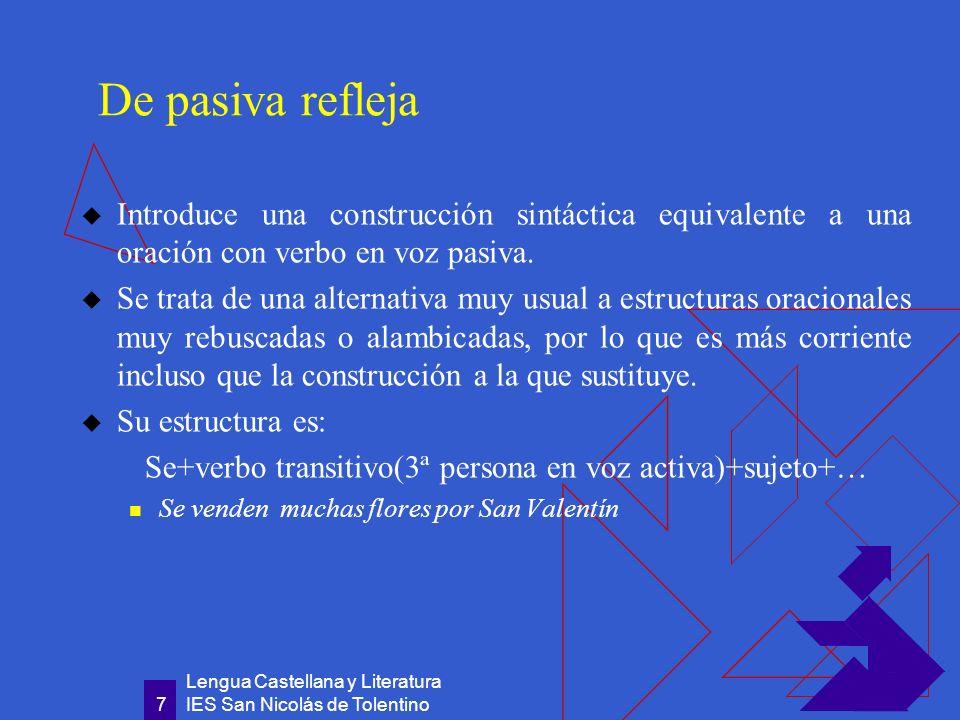De pasiva refleja Introduce una construcción sintáctica equivalente a una oración con verbo en voz pasiva.