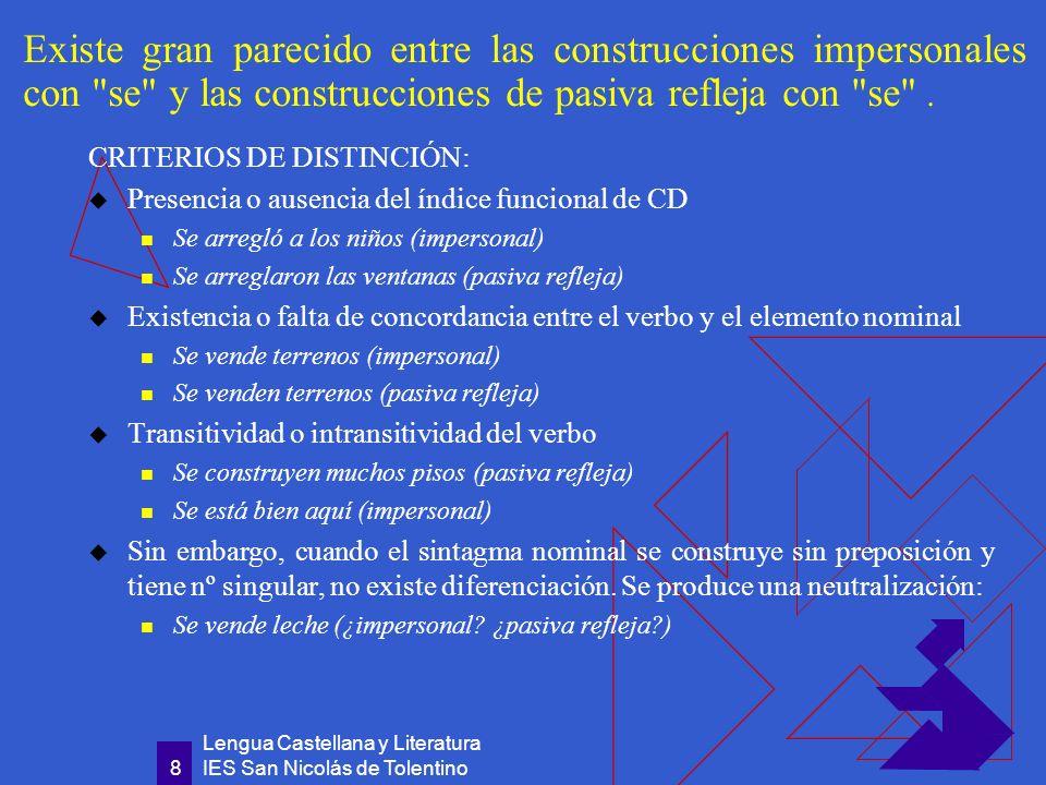 Existe gran parecido entre las construcciones impersonales con se y las construcciones de pasiva refleja con se .