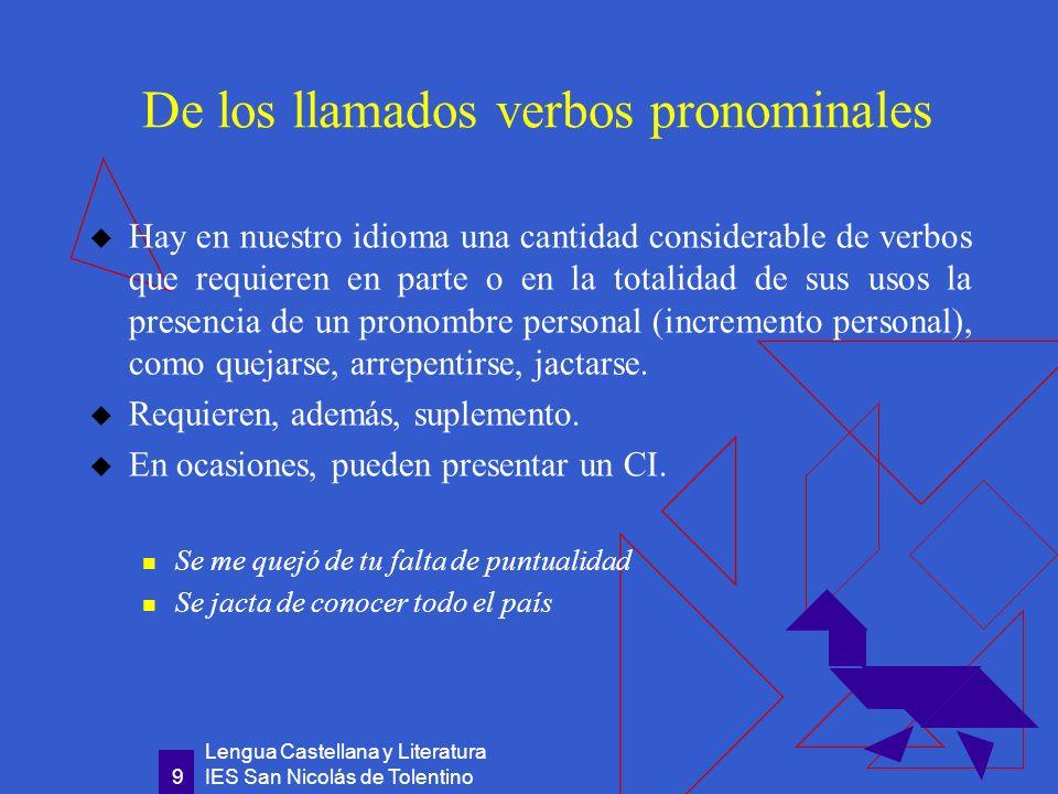 De los llamados verbos pronominales